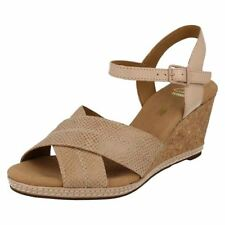 Wedge 100% Leather Textured Sandals & Beach Shoes for Women