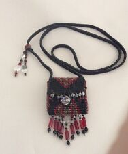 Vintage Native American Hand Beaded Pouch With Strap And Natural Crystal.