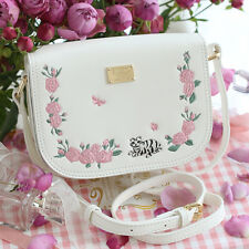 Vintage Sweet embroidery Girl Messenger Bag Lolita Shoulder Bag White Handbags