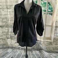Westbound Size Large Black Lightweight cotton button down blouse 3/4 sleeves Com
