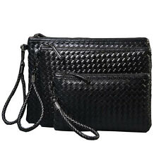 Men's Fashion Black Leather Business Clutch Bag Handbag Briefcase Wallet Purse