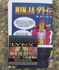 Ninja Gaiden I Lynx Atari New Cartidge with copy of Instructions No Box
