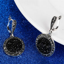 Black Broken Stone Accessories Earring For Women Bohemia Silver Plated