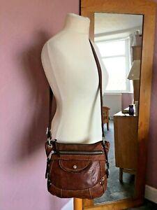 Fossil Vintage Brown Leather Key Messenger Shoulder Bag