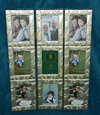 NICE GOLD FOLDING PICTURE PHOTO FRAME 3 PANEL SCREEN! 9 PHOTOS!!!