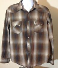Wrangler American Cowboys Brown Plaid Pearl Snap Long Sleeve Xl Shirt