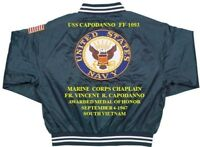USS CAPODANNO FF-1093 FR. VINCENT CAPODANNO * EMBROIDERED 2-SIDED SATIN JACKET