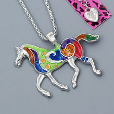 Colorful Enamel Steed Horse Pendant Chain Betsey Johnson Necklace Jewelry Gift