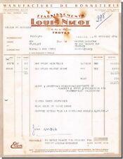 Facture Etablisements LOUIS NICOT Manufacture de Bonneterie à Troyes 1956