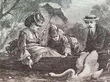 1861 AMONG THE WATER-LILIES Ella Rodman Church Godey's Lady's Magazine Engraving