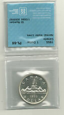 1955 Canada  80% Silver Dollar CCCS PL-66 Mintage 268,105