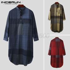 Men's Check Pajamas Nightshirt Kaftan Bathrobe Sleepwear Night Gown Long T Shirt