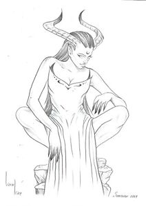original drawing A4 331KV art Graphite sketch modern half-naked demoness