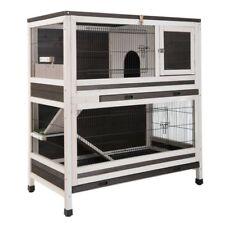 Double Decker Rabbit Hutch Guinea Pig Cage 2 Storey Wooden Pet Ramp Den Indoor