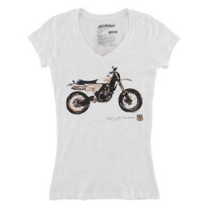 NEW FMF Kurt Caselli Sandstorm Cotton White V-neck T-Shirt Womens Small S