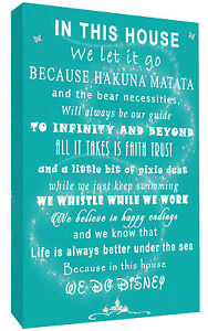 We Do Disney In This House Quote on CANVAS WALL ART Picture Print - Teal