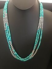 Stunning! Navajo Sterling Silver 3 Strand Turquoise Bead Necklace 26 Inches