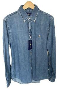 Mens Polo Ralph Lauren Blue Denim Slim Fit Long Sleeve Shirt in Medium