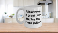 Bass Guitar Mug White Coffee Cup Funny Gift for Bassist Musician Artist Rock