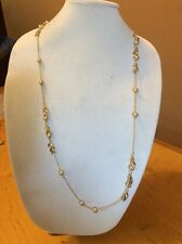 Ann Taylor Long Gold Necklace With Peach Pearls $34.99 (20005924) MD 17
