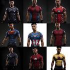 Compression Marvel Superhero Men Short T-shirt Gym Sport Bike Jersey Spiderman
