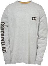 CAT Caterpillar Logo Letrero Camiseta Manga Larga Hombre Resistente Trabajo