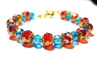Red Turquoise Gold Crystal Bracelet Morrocan Southwest Turquoise Indian Bohemian
