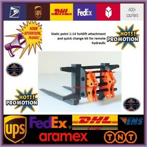 Static point 1:14 forklift attachment and quick change kit for remote hydraulic