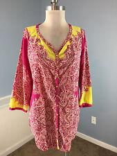 YOANA BARASCHI Anthropologie Pink Yellow Floral Blouse Tunic Top M EUC RARE