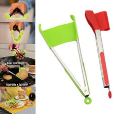 NEW Clever Tongs 2 in1 Kitchen Spatula and Tongs Non-Stick Cooking FREE Shipping