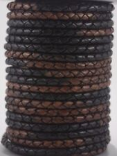 Genuine Round Bolo Braided Leather Cord 5 mm 3 Feet Jewelry Making String