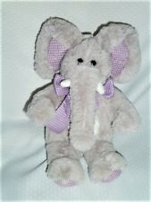 "ANIMAL ADVENTURES ELEPHANT grey purple check bow 2008 12"" Target"