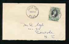 FIJI 1953 CORONATION SINGLE FRANKING to NZ...BUCA BAY