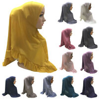 Amira Hijab Muslim Women Scarf Headscarf Shawl Wrap Prayer Cap Ruffle Full Cover