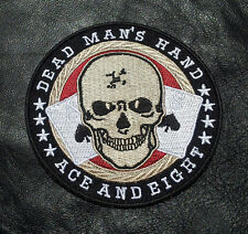DEAD MAN'S HAND ACE EIGHT 3.5 INCH IRON ON BIKER PATCH