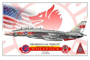 """F-14A """"TOMCAT"""" VF-1 - WOLFPACK -  Airplane Profile Poster"""