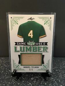 2021 Leaf Lumber MIGUEL TEJADA Bat Relic Game Used Lumber /5 Oakland Athletics