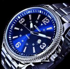 Akzent Uhr Herrenuhr Armbanduhr Blau Silber Farben Datum Edelstahlarmband