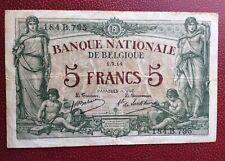Belgique -  Rare et Joli Billet de 5 Francs  du 1-7-1914