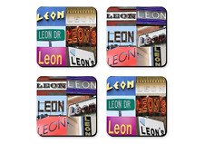 Personalized Coasters featuring the name LIZ in photos of signs - Set of 4