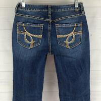 JAG Jeans Embellished Womens Size 4 Stretch Blue Med Wash Low Rise Bootcut Denim