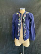 Cecile vintage navy blue lambswool/angora embellished cardigan-38 (S/M)
