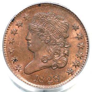1828 C-3 PCGS MS 64 RD 13 Stars Classic Head Half Cent Coin 1/2c