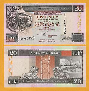 Hong Kong 20 Dollars 2002 Pick-201d UNC