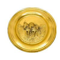 Vintage Embossed Brass Wall Plate Made In England Farmer Horses Farmer LOMBARD