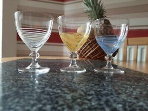 3x Vintage Colorful Striped Sherry Port liqueur Glasses