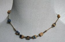 BLUE AND PINK SQUARE STONE NECKLACE POSSIBLY TIGER'S EYE