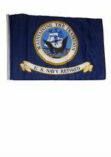 "12x18 12""x18"" U.S. Navy Retired Sleeve Flag Boat Car Garden"