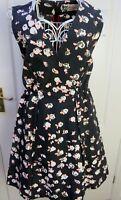 JAEGER BOUTIQUE Black SILK Blend Fit Flare Black Floral Dress UK 12 Summer EU 40
