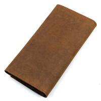J.M.D Men's Crazy Horse Leather Long Wallet ID Card Money Holder Purse Brown